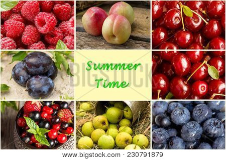 A Collage Of Different Summer Fruits And Berries. Chess Order