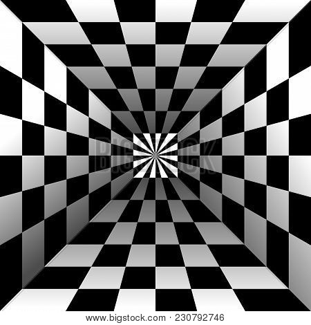 Optical Illusion, Black And White Background, Vector