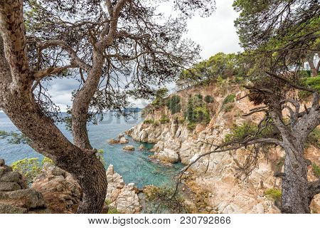 View Of The Sea And The Coast Of Lloret De Mar In Inclement Autumn Weather. Catalonia, Spain