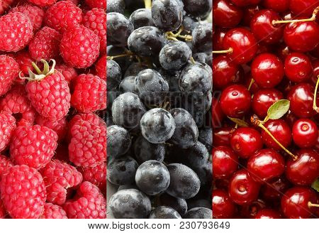 Collage With Different Fruits, Berries Of Red And Blue Color