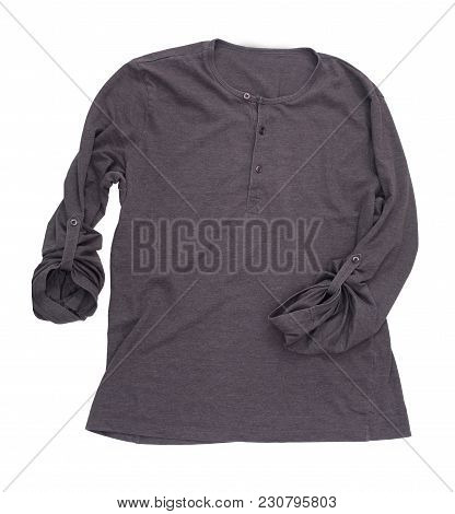 Black Mens Sweatshirt, Isolated On White Background With Clipping Path. Dark Casual Pullover, Cutout