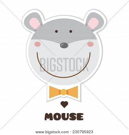 Mouse. Vector Illustration Of Head Of Mouse. Sticker
