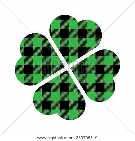 Shamrock Four Leaf Clover Icon. Green And Black Lumberjack Pattern. Saint Patricks Day Symbol.