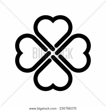 Shamrock Silhouette - Black Thick Outline Four Leaf Clover Icon. Good Luck Theme Design Element. Sim