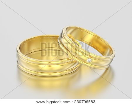 3d Illustration Two Yellow Gold Matching Couples Wedding Diamond Rings Bands On A Gray Background
