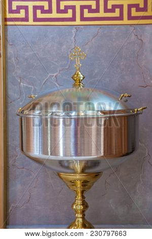 accessories for christening interior of orthodox church in easter baby christening ceremony