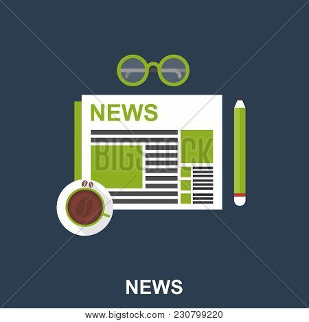 Cup Of Coffee With Newspaper, Pencil And Eyeglasses On The Table. Top View Flat Design Illustration