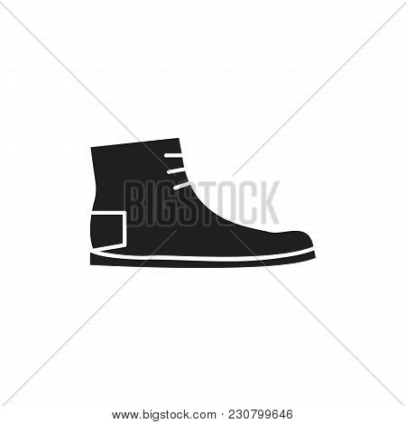 Hiking Old Military Boot Isolated On White Background, Combat American Military Boot. Shoe Object