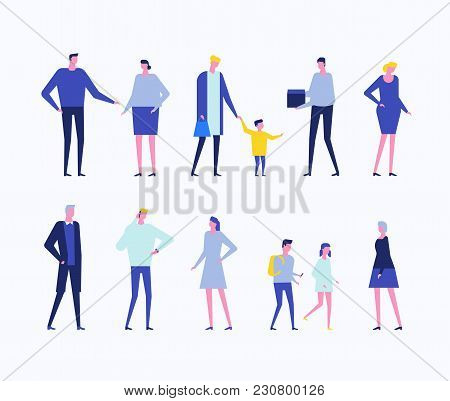 Children And Adults - Flat Design Style Set Of Isolated Characters On White Background. Cartoon Youn