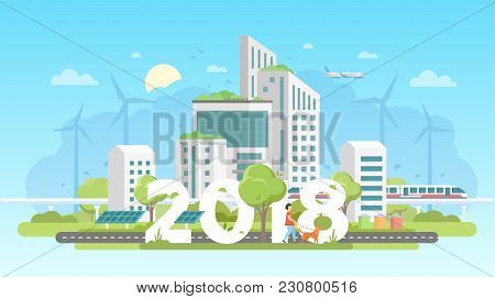 Modern Eco City - Colorful Flat Design Style Vector Illustration On Blue Background. A Composition W