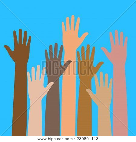 Colorful Raised Hands. The Concept Of Diversity. Group Of Hands On A Blue Background
