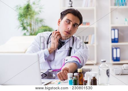 Doctor drug addict in the hospital