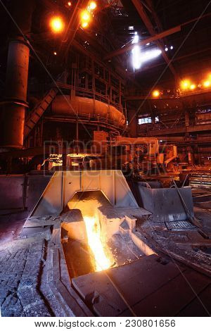 Blast Furnace At A Metallurgical Plant. Heavy Industry, Metal Casting.