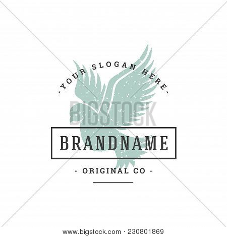 Dove Hand Drawn Logo Isolated On White Background Vector Illustration For Labels, Badges, T-shirt An