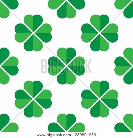 Green Shamrock Seamless Pattern. Background Of Fourleaf Clovers. Simple Flat Vector Illustration.