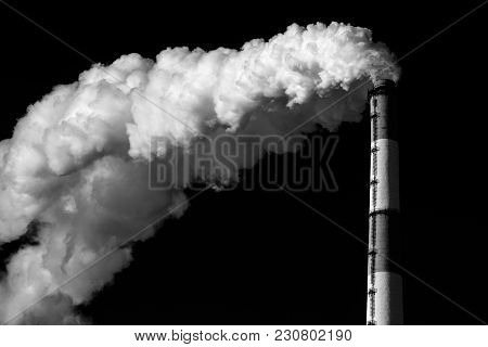 Dense Smoke From A Chimney Black Background