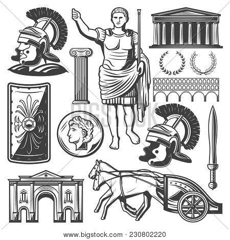 Vintage Roman Empire Elements Set With Gladiator Sword Shield Chariot Emperor Caesar Triumphal Arch