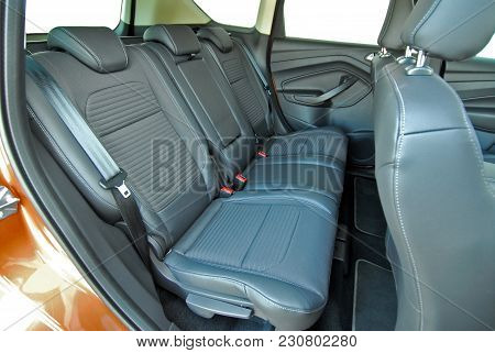 Gray Leather Rear Seat In The Passenger Car