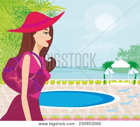 Elegant Woman On Tropical Vacation , Vector Illustration