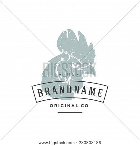 Rooster Head Hand Drawn Logo Isolated On White Background Vector Illustration For Labels, Badges, T-