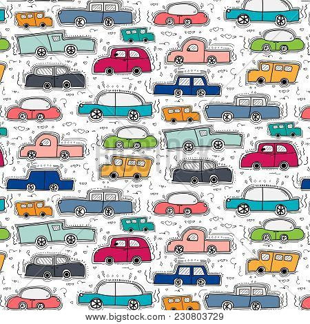 Pattern With Hand Drawn Doodle Colorful Cars Background.