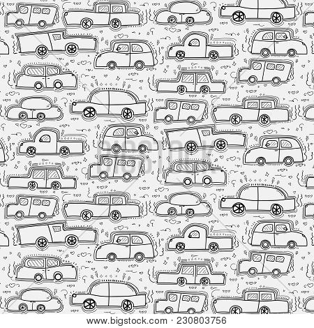 Pattern With Line Hand Drawn Doodle Cars Background.