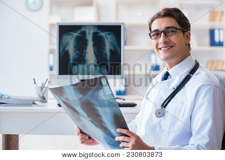 Doctor radiologist looking at x-ray images