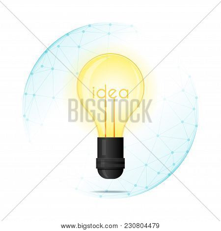 Intellectual Property Protection Concept With Light Bulb Idea Protected In Polygonal Sphere Shield ,