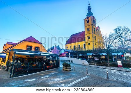 Scenic View At Baroque Colorful Architecture In Samobor Town, Northern Croatia.