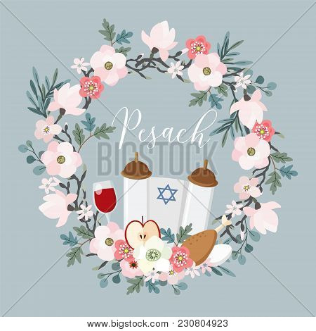 Pesach, Passover Greeting Card. Hand Drawn Floral Wreath With Torah, Jewish Star, Egg, Apple, Glass