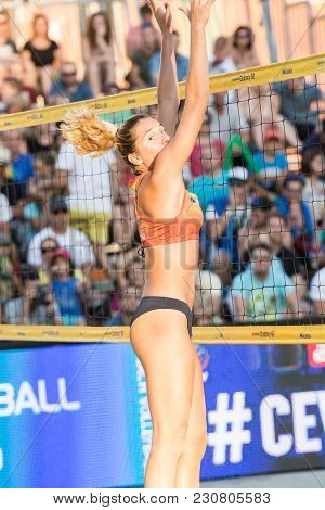Ljubljana, Slovenia - July 22, 2017: Adriana-maria Matei From Romania Looking Where The Ball Went In