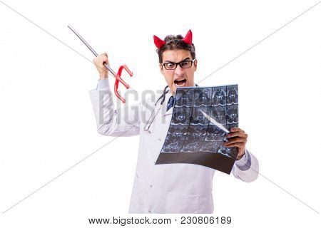Devil doctor in funny medical concept isolated on white backgrou