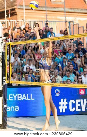 Ljubljana, Slovenia - July 22, 2017: Anni Schumacher From Germany Trying To Block A Lobbed Ball In T