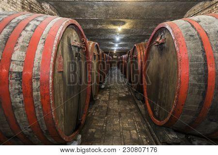 Barrels Of Wine In Old Cellar. Wine Factory
