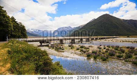 Beautiful Panoramic Scenic View Of Arthur's Pass Bridge With Arthur's Pass National Park Panoramic S
