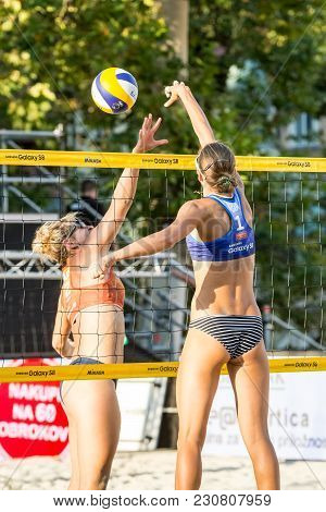 Ljubljana, Slovenia - July 22, 2017: Inna Makhno From Ukraine Attacking On The Net And Hitting The B