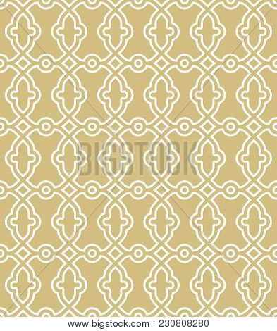 Classic Seamless Golden And White Pattern. Traditional Orient Ornament. Classic Vintage Background
