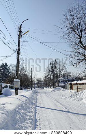 Majestic View Of Residential District  After Heavy Snowfall In Winter, Zavet, Bulgaria