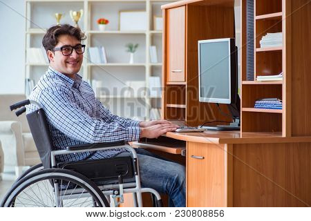 Disabled student studying at home on wheelchair