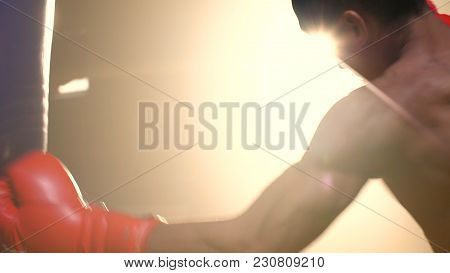 Asian Athlete Boxer Punching A Punching Bag With Effect Dramatic Lighting In Studio. Young Professio