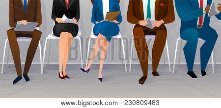 Human Resources Interview Recruitment. Job Concept. People Sitting On The Chairs At The Office. Vect