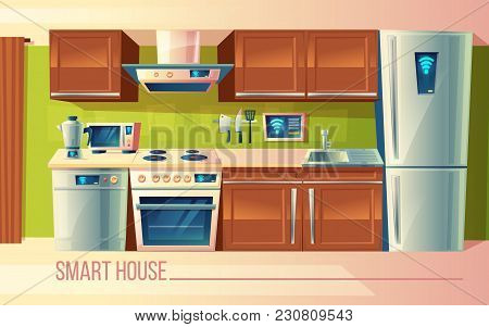 Vector Cartoon Set Of Smart House, Wireless Control Of Kitchen Counter With Appliances - Washing Mac