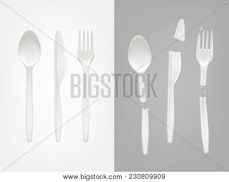 Vector 3d Realistic Disposable Plastic Cutlery - Spoon, Fork, Knife And Broken Tools. Mock Up Of Pic