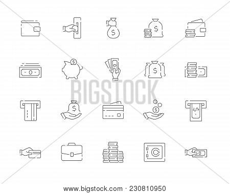 Simple Set Of Money Vector Line Web Icons. Contains Such Icons As Cash, Wallet, Atm, Hand With A Coi