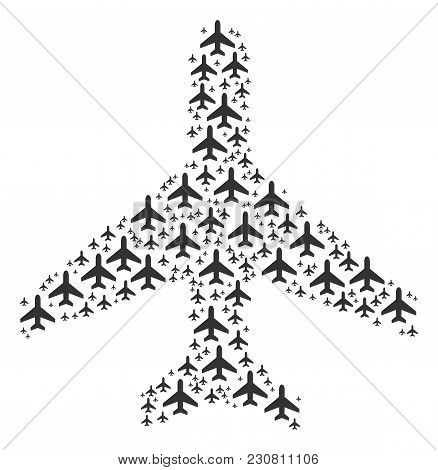 Air Plane Composition Composed In The Set Of Air Plane Elements. Vector Iconized Collage Created Wit