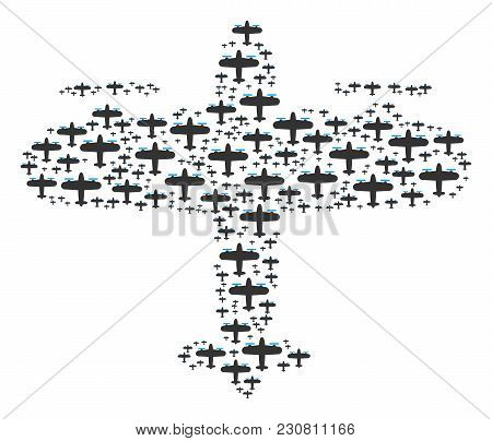 Aircraft Collage Combined In The Combination Of Aircraft Design Elements. Vector Iconized Compositio