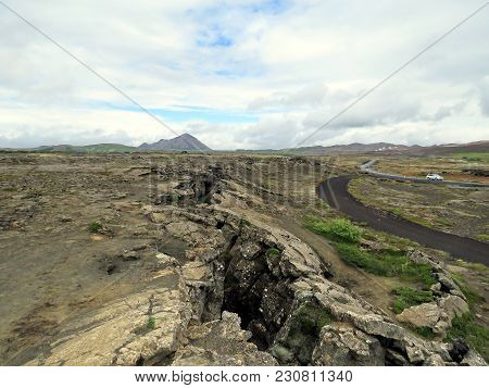 Dimmuborgir Area With Volcanic Caves And Rock Formations In Northeast Iceland, July 9, 2017