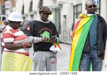 London, England - March 12, 2017 Vigil, Outside Zimbabwe Embassy, Take Place Every Saturday To Prote