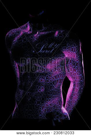 Male Muscular Body Body Stylized With Pattern In Low Key Lighting On Dark Background With Space For