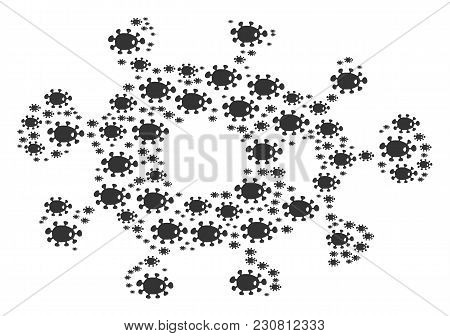 Bacteria Figure Created In The Group Of Bacteria Pictograms. Vector Iconized Composition Done From S